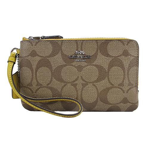COACH 送原廠提袋-新款雙拉鍊PVC手拿包(鵝黃)