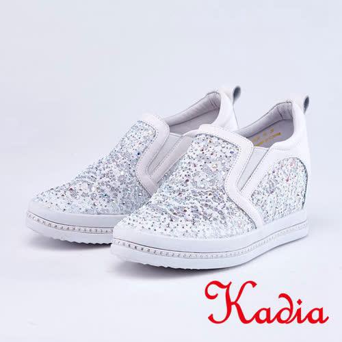 kadia.矚目焦點蕾絲水鑽拼接內增高休閒鞋(9014-18白色)