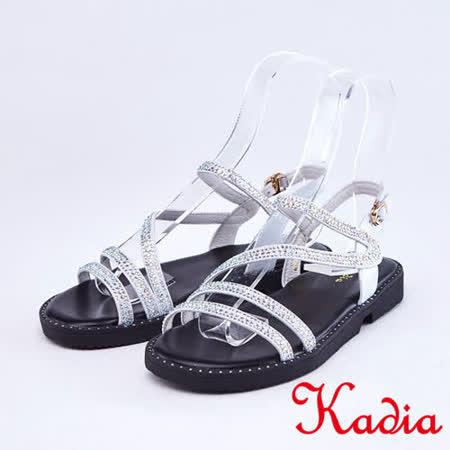 kadia 真皮鑽飾細條帶涼鞋