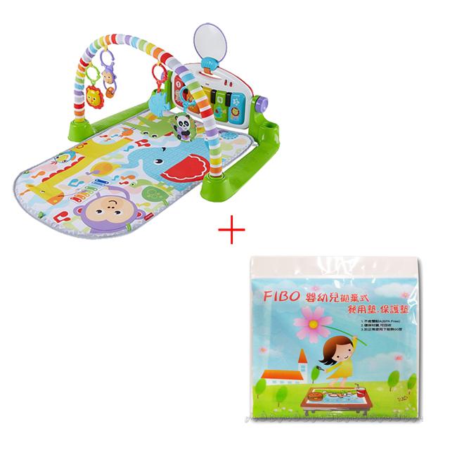 費雪可愛動物小鋼琴健身器+Fibo嬰幼兒拋棄式餐墊(1包10入)