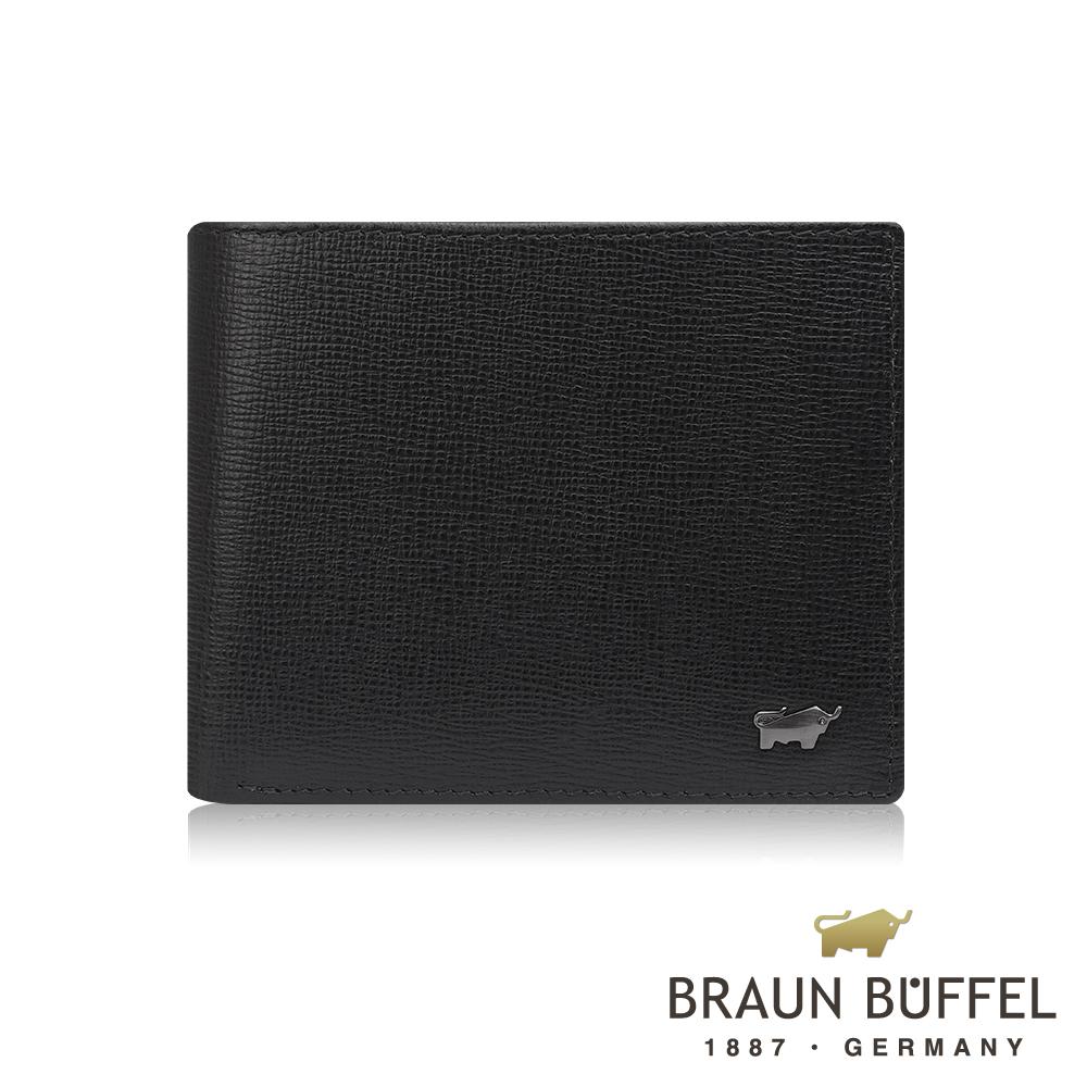 【BRAUN BUFFEL德國小金牛】阿梅爾系列8卡中間翻零錢袋皮夾(黑色) /BF333-318-BK