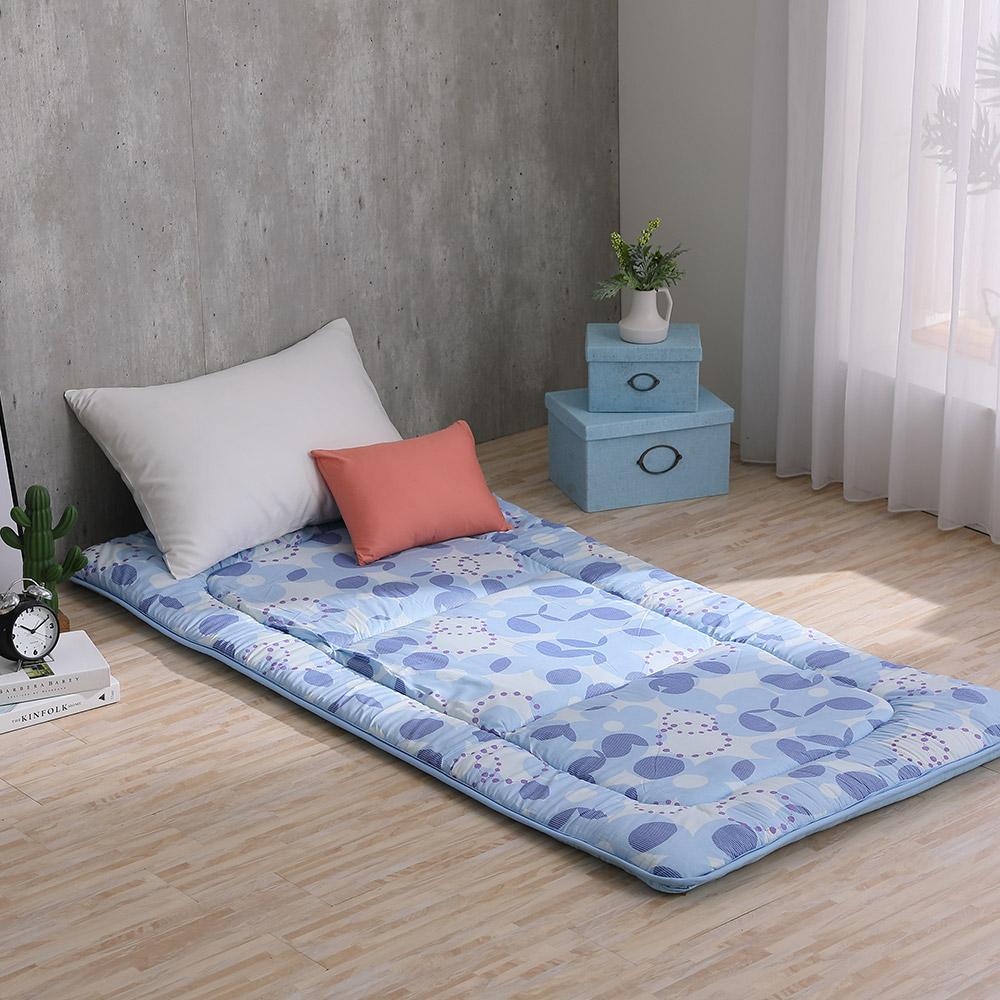LAMINA 花漾北歐 100%純棉日式床墊5cm-藍(單人)