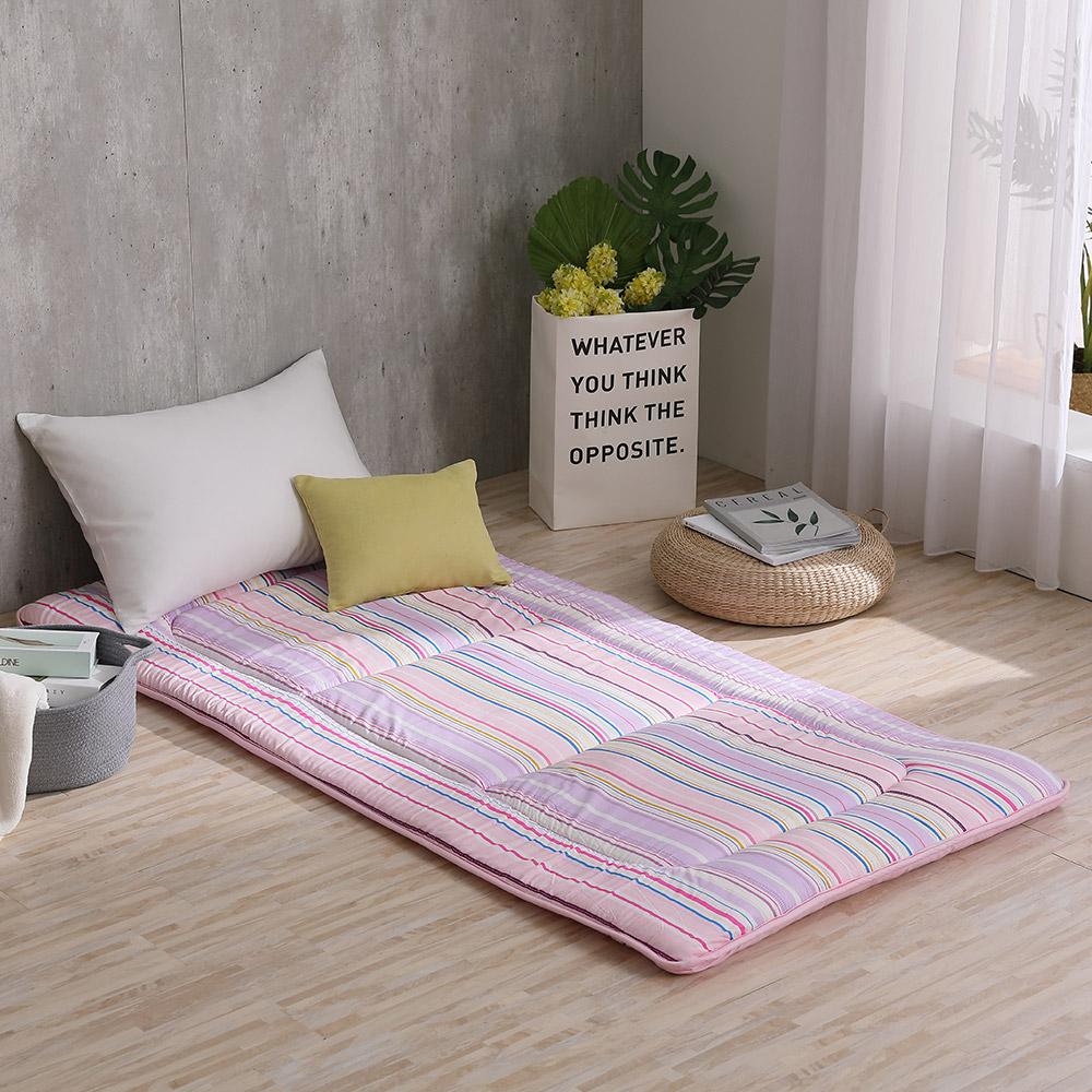 LAMINA 時光線條 100%純棉日式床墊5cm-粉紫(單人)