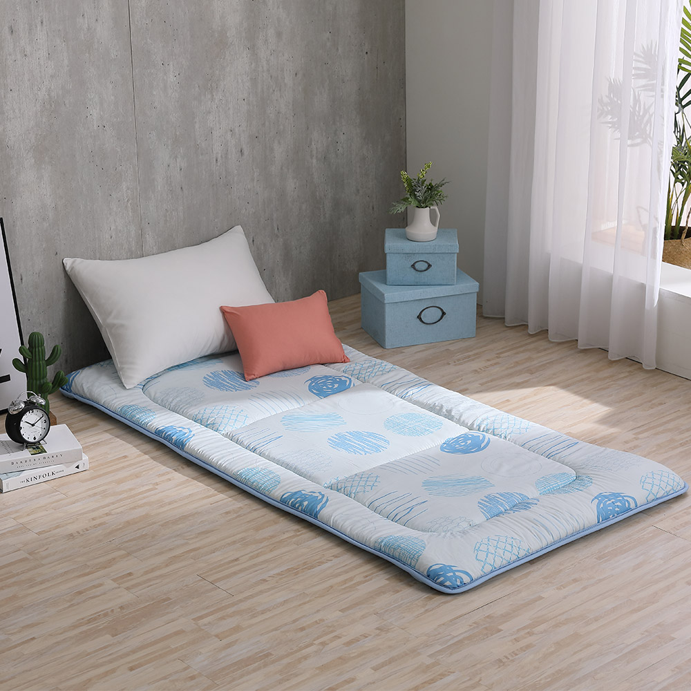 LAMINA 塗鴉筆觸 100%純棉日式床墊5cm-藍(單人)