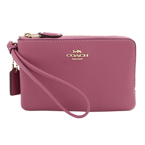COACH- 立體金馬車logo皮革L型雙層拉鍊手拿包(玫瑰粉)
