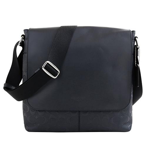 COACH- 浮印 LOGO皮革掀蓋織帶斜背包(墨藍)