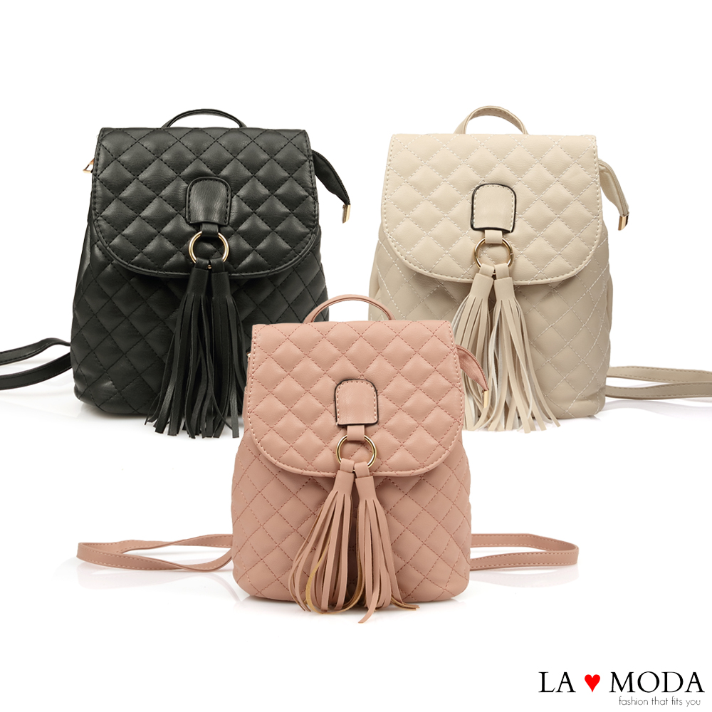 La Moda 熱銷單品小香風經典菱格紋2WAY大容量流蘇肩背後背包(共3色)