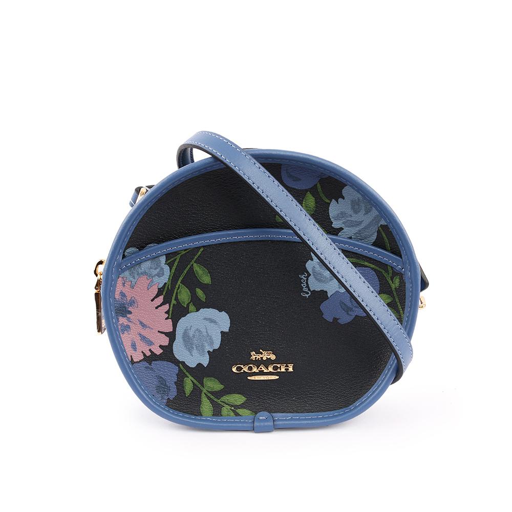 【COACH】馬車LOGO印花圓型斜背包(MINI)(藍色) F72804 IMNAY