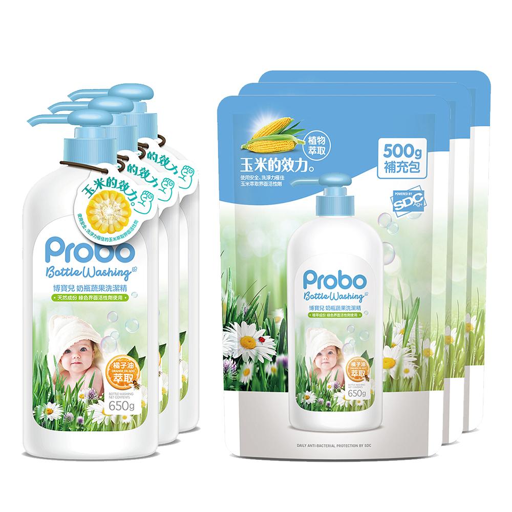 【快潔適】博寶兒奶瓶蔬果洗潔精650ml3瓶+500ml3包