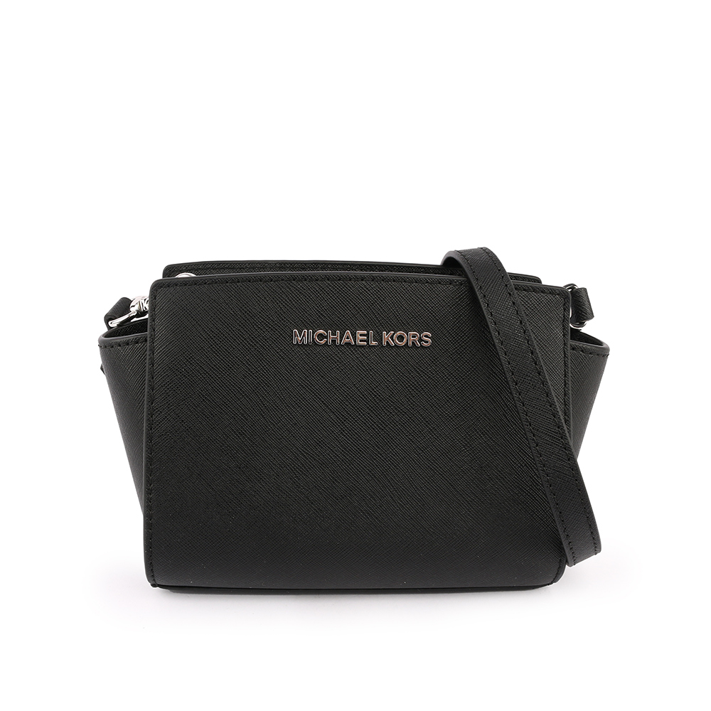 【MICHAEL KORS】防刮皮革selma斜背包(迷你)(黑色) 35H8SLMC0L BLACK