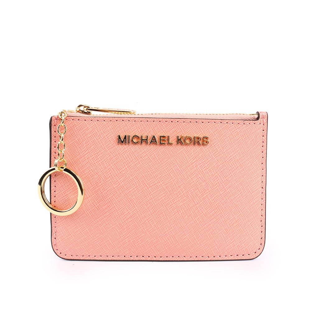 【MICHAEL KORS】素面皮革零錢包/卡夾/鑰匙包(粉色) 35F7GTVU1L PALR PINK