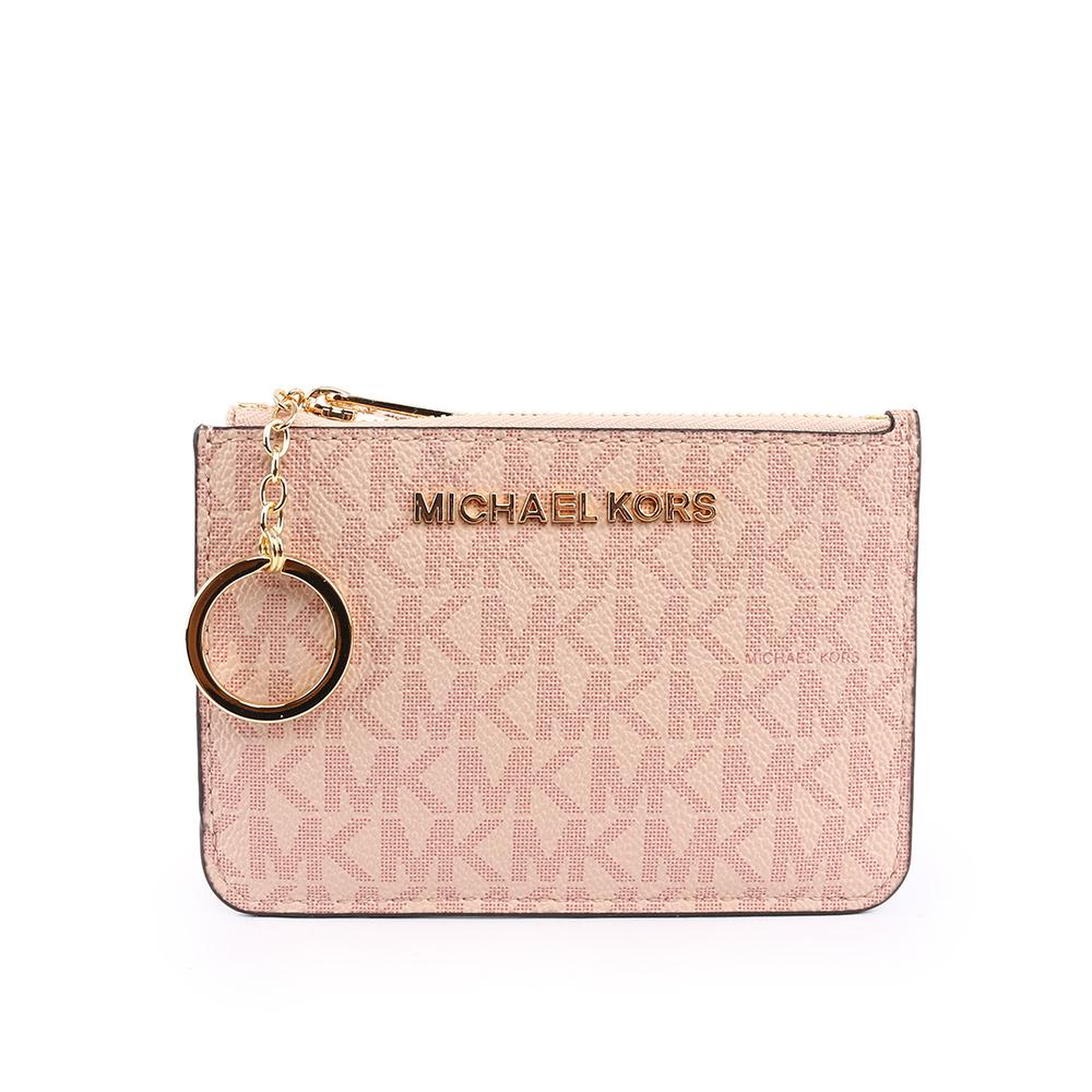 【MICHAEL KORS】拼字LOGO皮革零錢包/卡夾/鑰匙包(芭蕾粉) 35F8GTVP1B BALLET