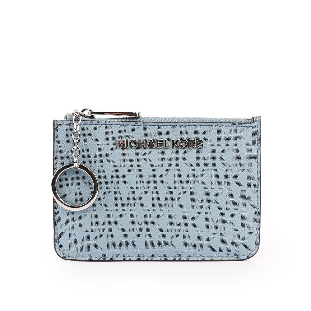 【MICHAEL KORS】拼字LOGO皮革零錢包/卡夾/鑰匙包(藍色) 35F8STVP1B BL/NAVY