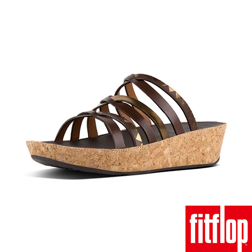 【FitFlop】LINNY SLIDE SANDALS ZIGZAG MIRROR 咖啡/鏡銅