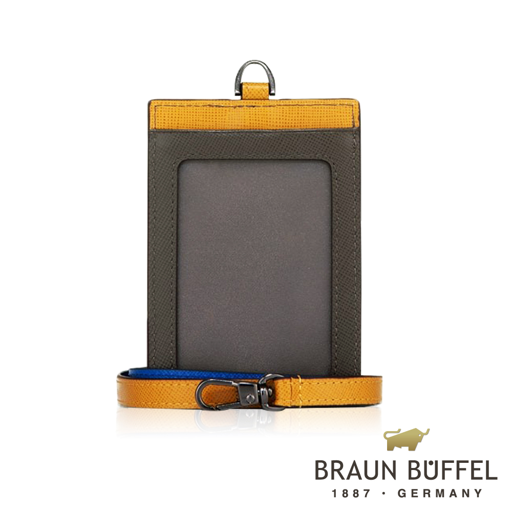 【BRAUN BUFFEL 德國小金牛】哈里森系列透明窗撞色證件夾(深卡其綠)/BF328-600-MT