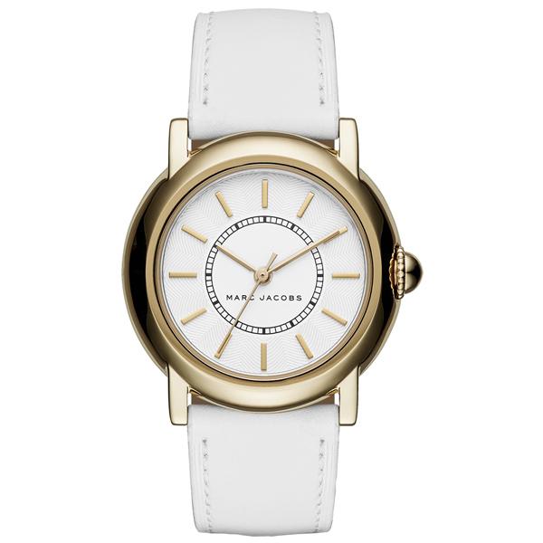 MARC By Marc Jacobs 時線交錯時尚腕錶-金框白x白色錶帶
