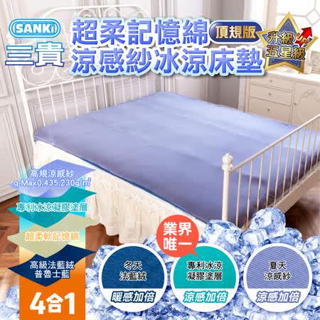 【APP限定】日本SANKi 超柔記憶綿涼感紗冰涼床墊(頂規版)