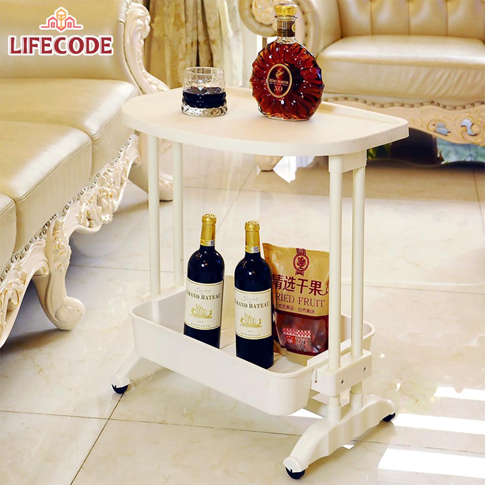 LIFECODE《悠活》二層可移動茶水桌/筆電桌
