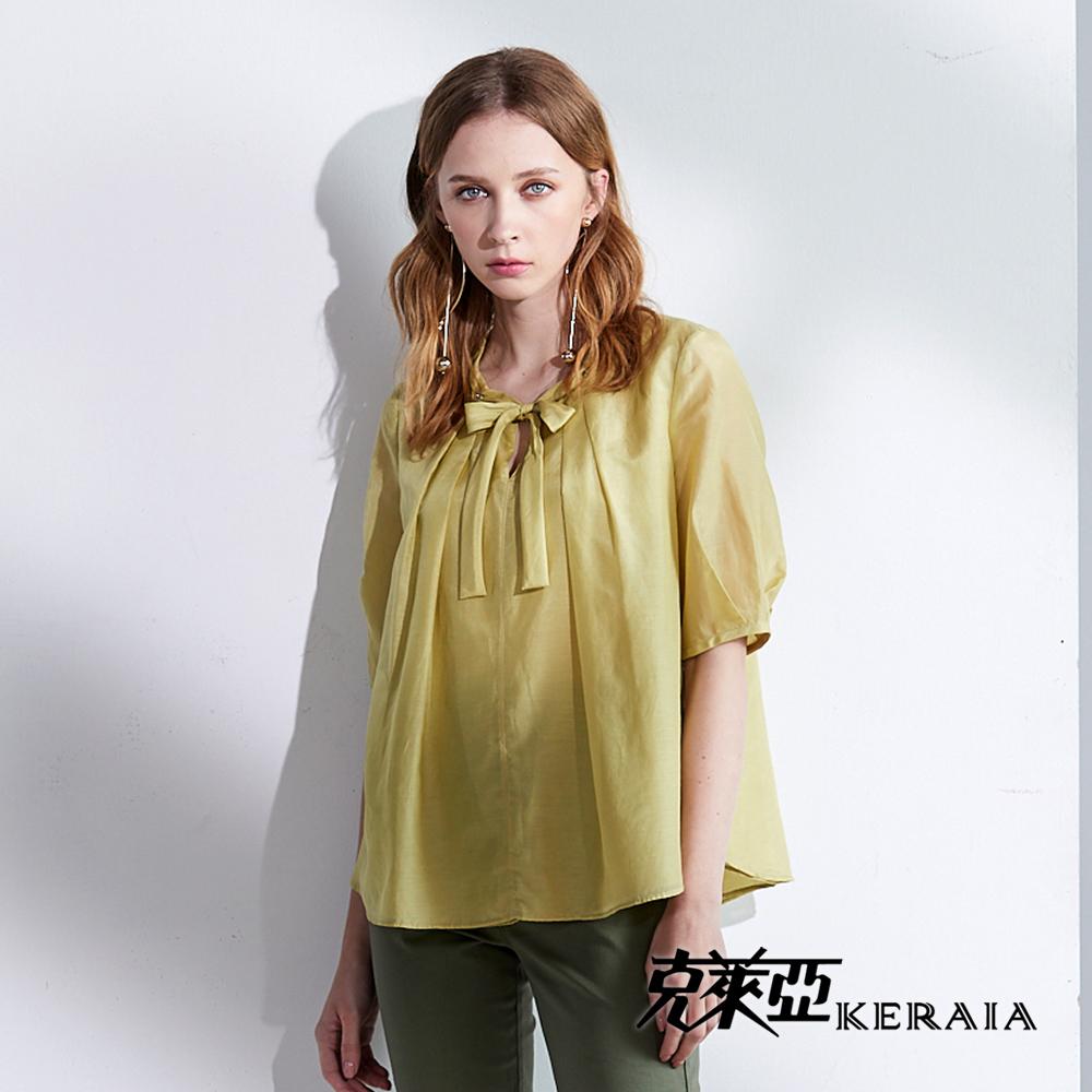 【KERAIA 克萊亞】領口蝴蝶結寬版絲棉上衣