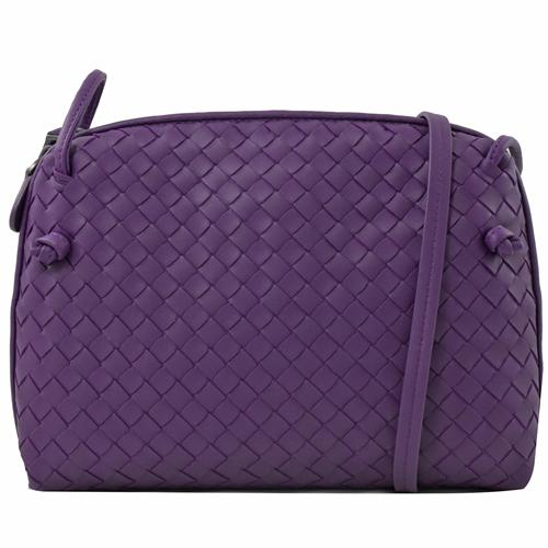 BOTTEGA VENETA 手工編織小羊皮斜背小方包.紫