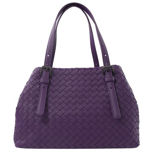 BOTTEGA VENETA  手工編織小羊皮造型托特包.紫