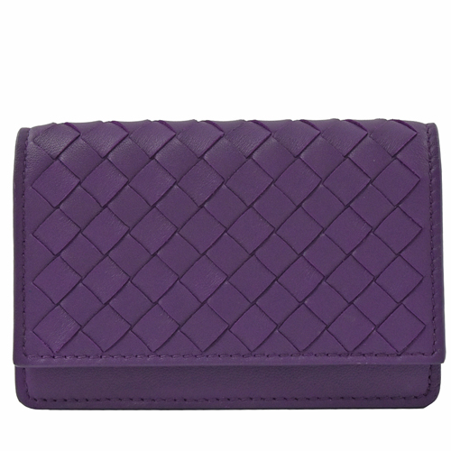 BOTTEGA VENETA 手工編織羊皮扣式名片夾.紫