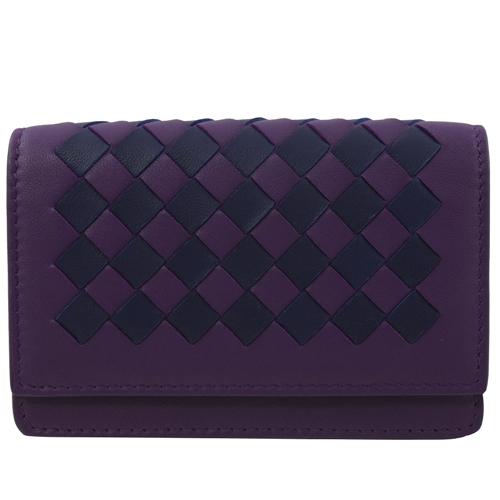BOTTEGA VENETA 雙色編織羊皮扣式名片夾.紫藍