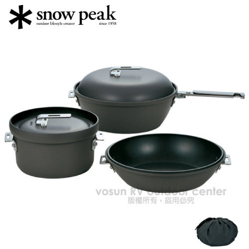 【日本 Snow Peak】燕三條 極薄輕量 頂級荷蘭鍋3件組/附收納袋.鑄鐵鍋/CS-600