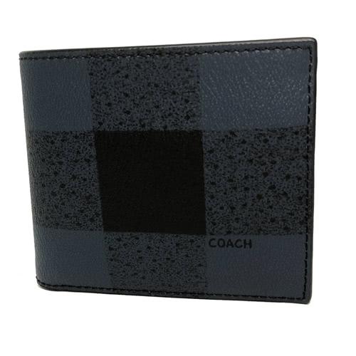 【COACH】經典LOGO PVC皮革格紋 8卡對折輕便短夾附活動證件夾(深藍)
