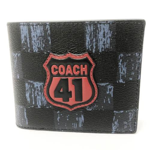【COACH】經典 LOGO立體徽章配色PVC皮革 8卡對折輕便短夾附活動證件夾(黑/深藍)