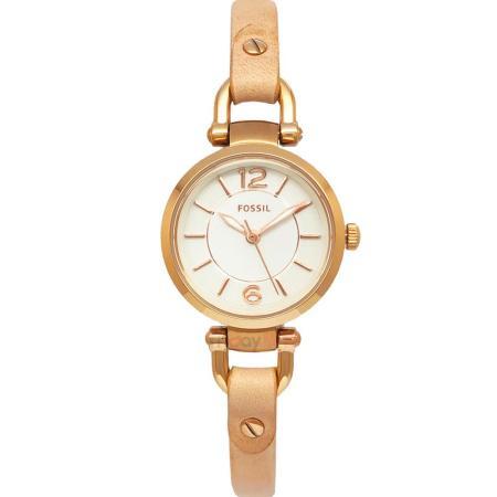 FOSSIL  玫瑰金框 細膚色錶帶