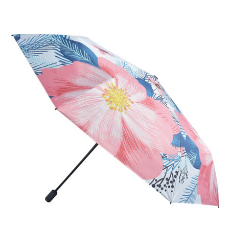 【2mm】100%遮光 京都花典黑膠降溫手開傘 (茶梅花)