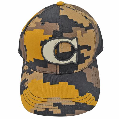 COACH 經典C LOGO 迷彩棉質棒球帽.卡其