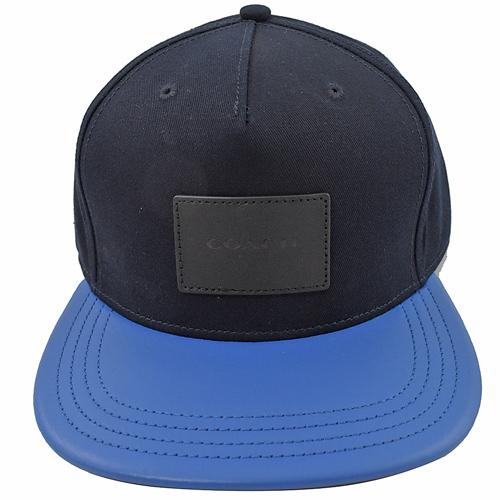 COACH 方塊壓印 LOGO 撞色棉質棒球帽.深藍/藍