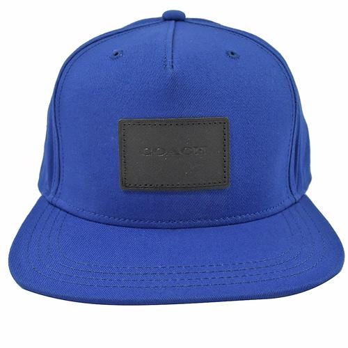 COACH 方塊壓印LOGO 全棉質棒球帽.藍