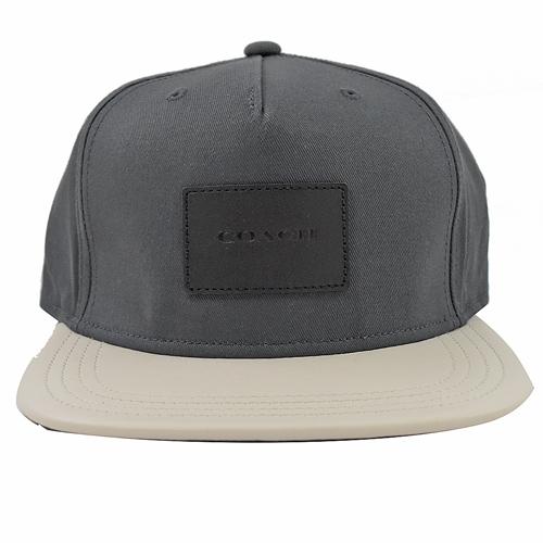 COACH 方塊壓印LOGO 撞色棉質棒球帽.灰/白