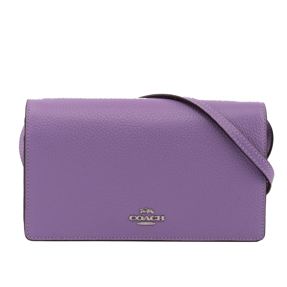 【COACH】馬車LOGO皮夾式二用手拿/斜背包(紫色) F30256 SVII