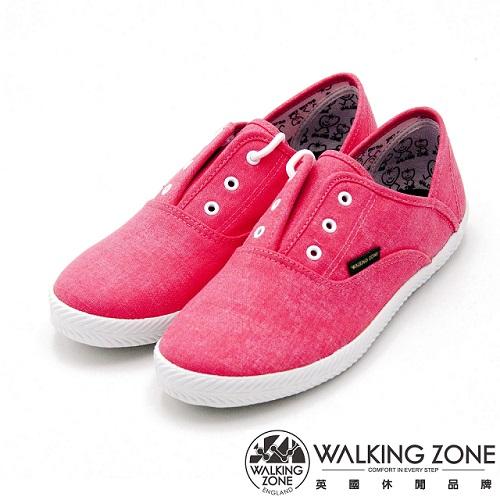 WALKING ZONE果漾YOUNG純棉帆布鞋休閒鞋 女鞋-粉(另有黑/白/藍/淺藍)