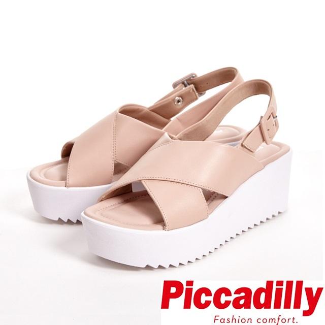 Piccadilly 時尚舒適 釦環厚底鬆糕涼鞋 女鞋-粉(另有黑)