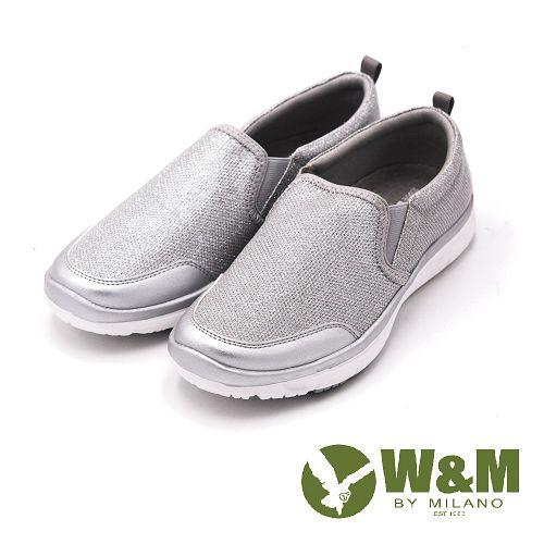 W&M MODARE系列 拼色異材質直套式休閒鞋 女鞋-銀(另有藍、黑)