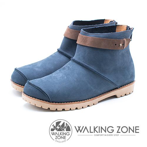 WALKING ZONE 皮革車縫拉鍊短靴 女鞋 - 藍 (另有紅、黃)