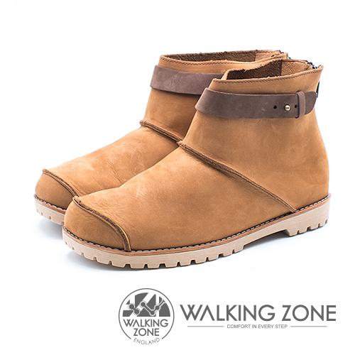 WALKING ZONE 皮革車縫拉鍊短靴 女鞋 - 黃 (另有藍、紅)