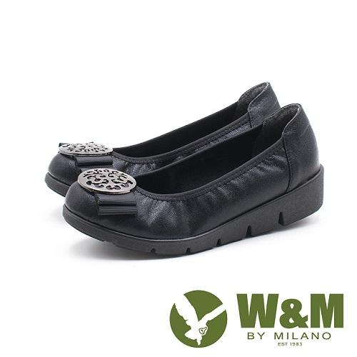 W&M 古典美 行雲圓扣厚底娃娃鞋 女鞋-黑(另有藍)