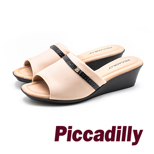Piccadilly 霧感緞面魚口寬帶女涼鞋- 米 (另有黑)