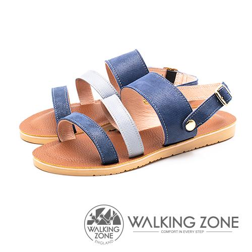 WALKING ZONE (女)三帶同糖果色涼鞋-藍(另有卡其)
