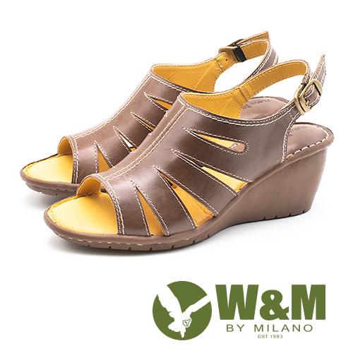 W&M(女)羅馬風情 真皮鏤空楔型涼鞋-棕(另有紅)