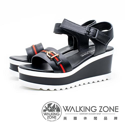 WALKING ZONE 真皮歐美裝飾繫帶楔型涼鞋 - 黑(另有白)