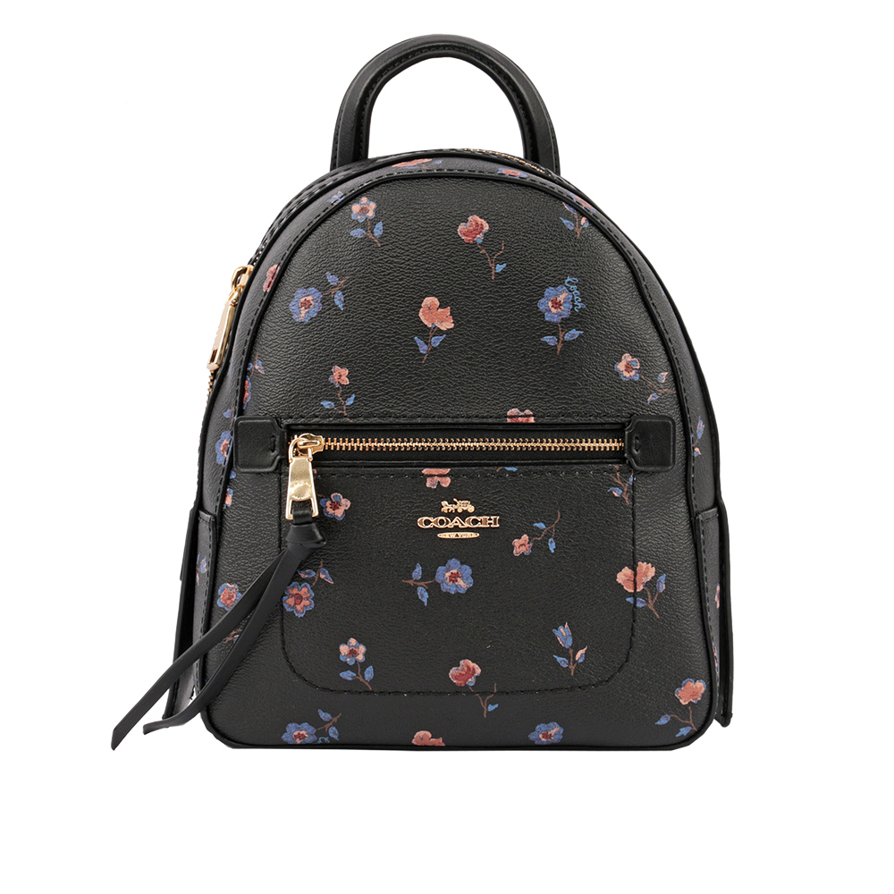 【COACH】印花皮革口袋後背包(小)(黑色) F49123 IMA47