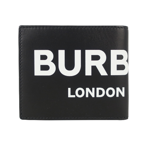 BURBERRY 滑面牛皮LOGO字母八卡短夾(黑)