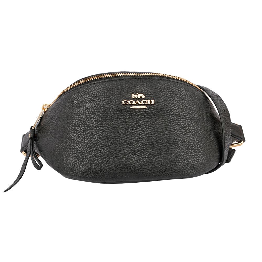 【COACH】荔枝紋皮革腰包(黑色) F48738 IMBLK